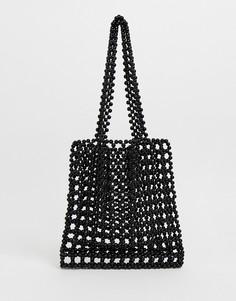 Черная сумка из бусин Pull&bear - Черный