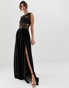 Платье макси с разрезом City Goddess - Черный