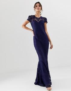 Кружевное платье макси с подолом годе и укороченными рукавами City Goddess - Темно-синий
