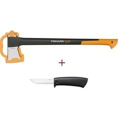 Топор-колун Fiskars Х21 + универсальный нож (1025436)