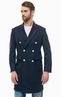 Шерстяное двубортное пальто синего цвета Replay