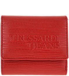 Красный кошелек с тиснением Trussardi Jeans