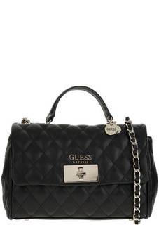 Стеганая черная сумка с откидным клапаном Guess