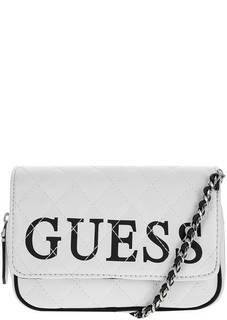 Маленькая белая сумка с поясным ремнем Guess