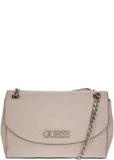 Бежево-розовая сумка с тиснением Guess