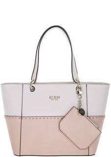 Розовая сумка с металлической отделкой Guess