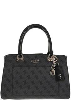 Серая сумка с монограммой бренда Guess