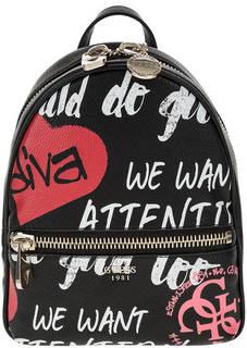 Черный рюкзак с принтом Guess