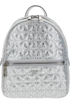 Стеганый рюкзак серебристого цвета Guess