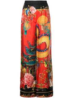 Dolce & Gabbana брюки палаццо с принтом в японском стиле