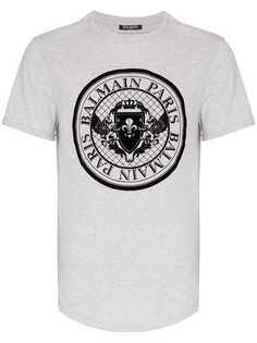Balmain футболка с логотипом и закругленным краем