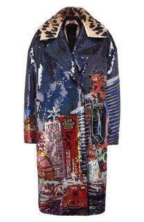 Пальто с пайетками и меховым воротником No. 21
