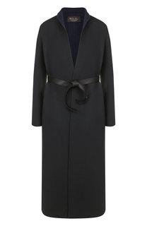 Однотонное кашемировое пальто с кожаным поясом Loro Piana