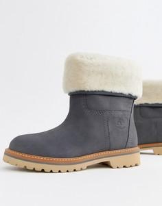 Серые кожаные ботинки с отворотом из искусственного меха Timberland Charmonix Gargoyle - Серый