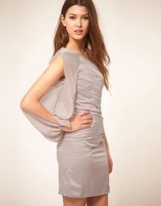Платье со складками и шифоновыми рукавами Lipsy - Серебряный