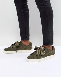 Замшевые кроссовки Puma Basket Heart - Зеленый