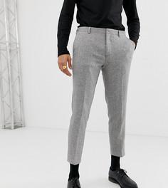 Серые брюки узкого кроя с узором в елочку Heart & Dagger - Серый