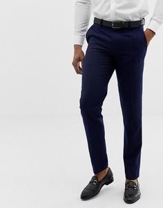 Синие узкие брюки в тонкую полоску Harry Brown - Синий