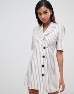 Платье-блейзер в полоску с короткими рукавами Club L - Белый