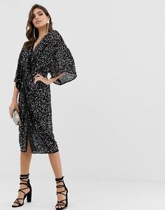Платье-кимоно миди с перекрученной отделкой спереди и пайетками ASOS DESIGN - Розовый