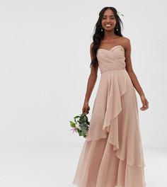 Платье-бандо макси с многослойной юбкой ASOS DESIGN Tall Bridesmaid - Розовый