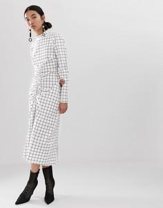 Платье с принтом и сборками ASOS WHITE - Белый