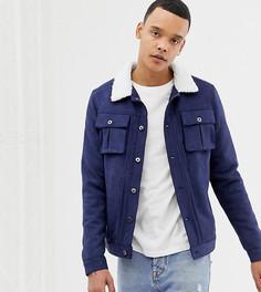 Куртка из искусственной замши с меховым воротником Another Influence TALL - Темно-синий