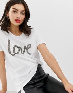Футболка с надписью love In Wear Volva - Белый