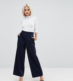 Широкие брюки с защипами ASOS DESIGN Petite - Темно-синий