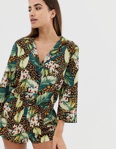 Пижамный комплект с шортами и пальмовым принтом ASOS DESIGN - Мульти