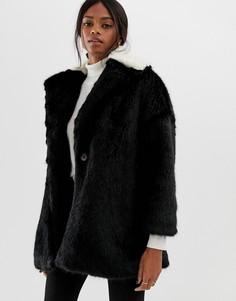 Пальто с контрастным воротником из искусственного меха Helene Berman - Черный