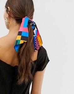 Головной платок с разноцветным принтом пэтчворк ASOS DESIGN - Мульти
