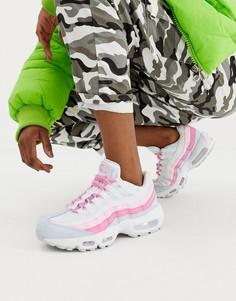 Розово-белые кроссовки Nike Air Max 95 - Белый