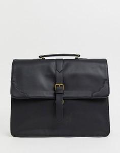 Черный портфель из искусственной кожи с ремешком ASOS DESIGN - Черный