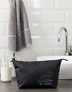 Черный несессер с вышивкой get wavey ASOS DESIGN - Черный