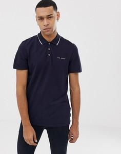 Темно-синяя футболка-поло с отделкой на воротнике Ted Baker - Темно-синий