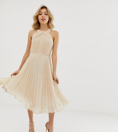Плиссированное платье миди с лямкой через шею ASOS DESIGN Petite - Розовый