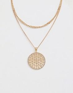 Ожерелье в два ряда с подвеской Ashiana - Золотой