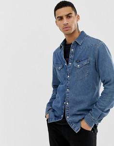 78011badb31 Выбеленная узкая джинсовая рубашка в стиле вестерн цвета индиго Wrangler -  Синий