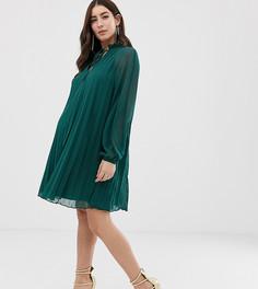 Платье-трапеция с плиссировкой и завязкой на вороте ASOS DESIGN Maternity - Зеленый