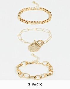 Набор из 3 браслетов-цепочек с подвесками ASOS DESIGN - Золотой