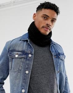 Черный вязаный шарф-снуд ASOS DESIGN - Черный