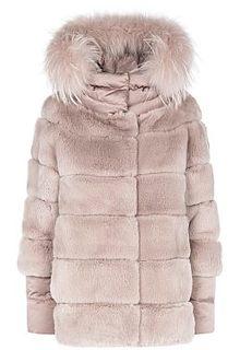 Шуба из меха кролика с текстильными элементами Virtuale Fur Collection