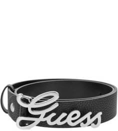 Черный ремень с логотипом бренда на пряжке Guess