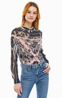 Разноцветная блуза на пуговицах с длинными рукавами Guess