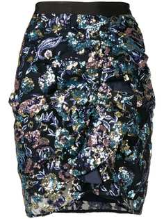 Self-Portrait floral embroidered skirt