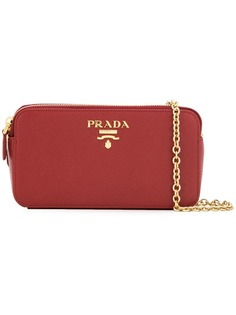 Prada logo plaque clutch bag