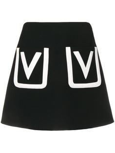 Valentino юбка мини с V-образным декором на карманах