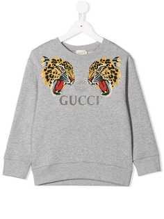 Gucci Kids толстовка с леопардовым принтом