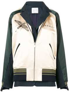 Sacai куртка-бомбер с вышивкой ястреба